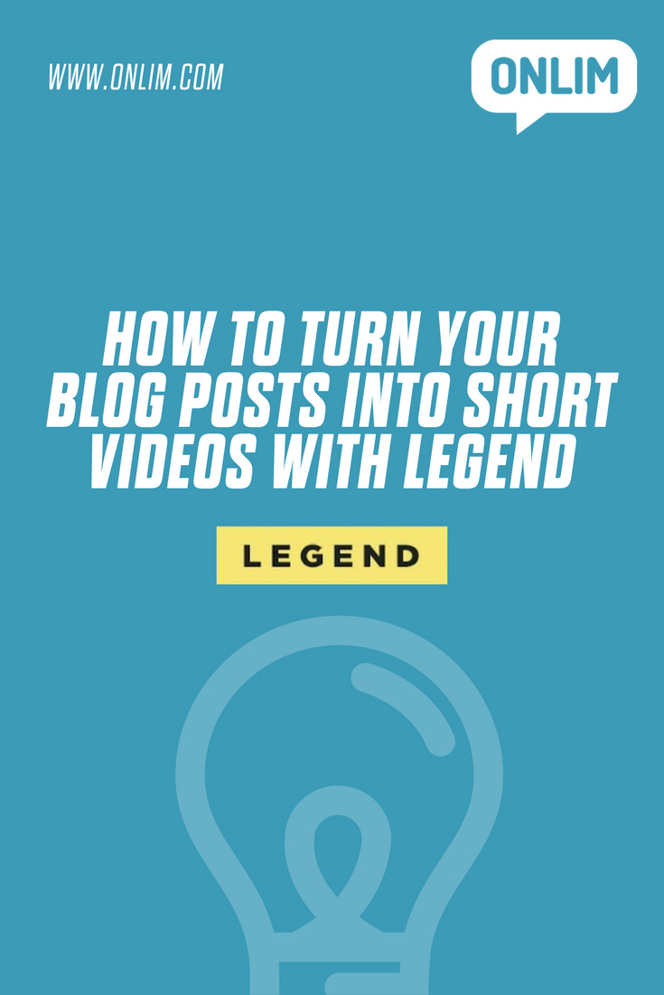Video content is trending enormously on social media. Here's an easy way how to turn  your blog posts into short videos with LEGEND.
