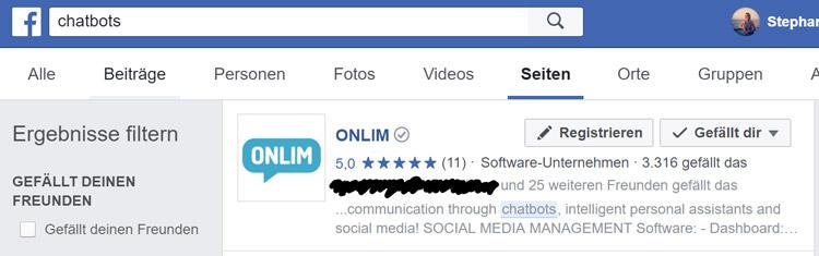 Chatbot Suche auf Facebook