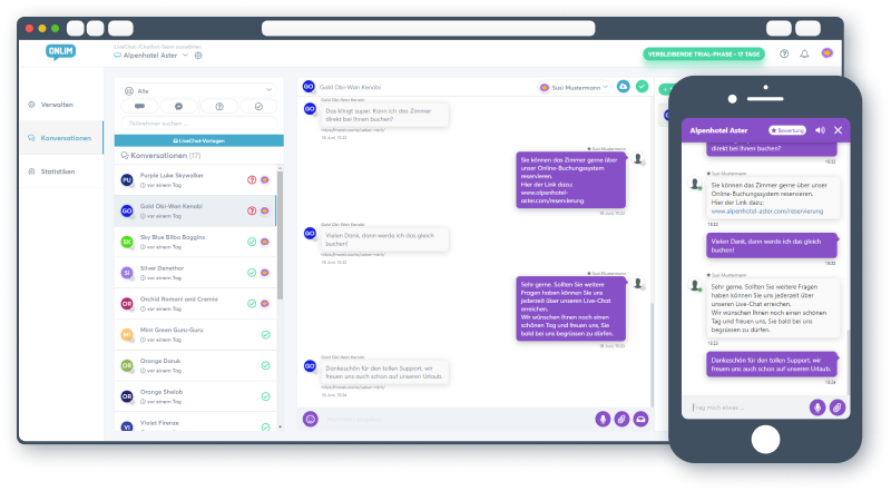 Onlim Business LiveChat SaaS app
