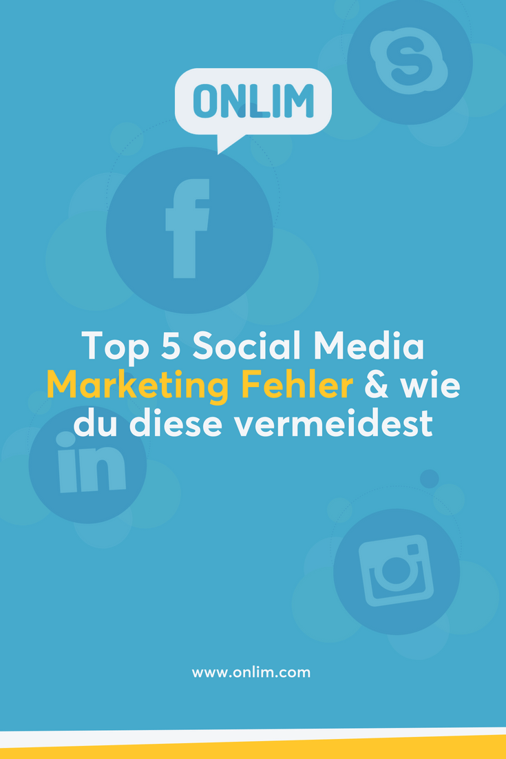 Social Media kann erheblich zum Unternehmenserfolg beitragen. Jedoch wird die richtige Herangehensweise benötigt! Hier die Top 5 Social Media Marketing Fehler und Tipps wie du diese vermeiden kannst.